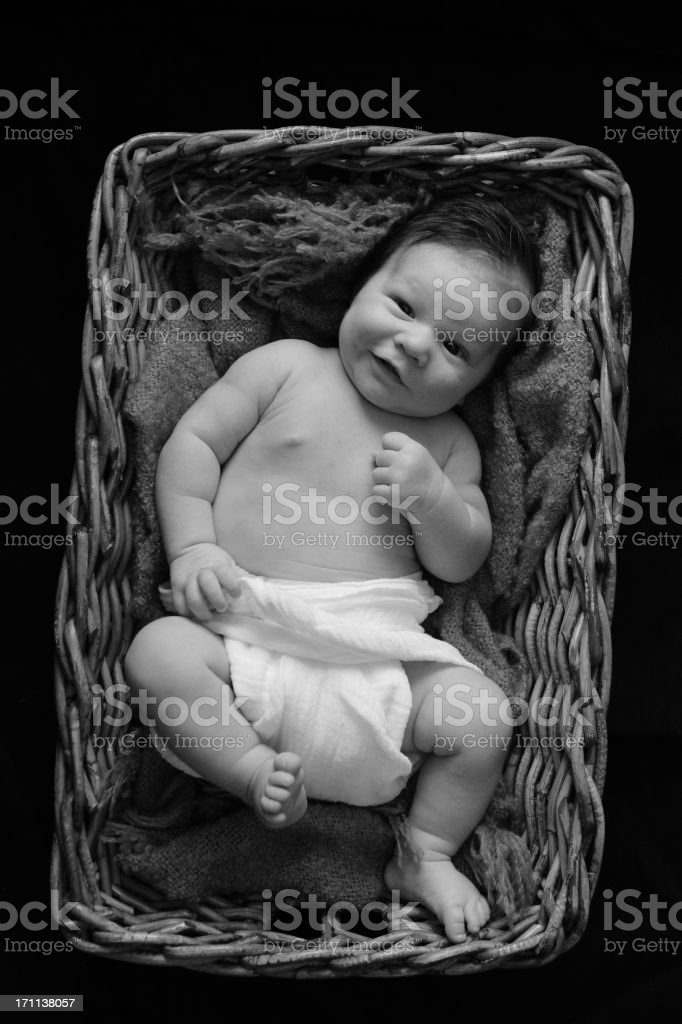 New born baby boy in a basket stock photo