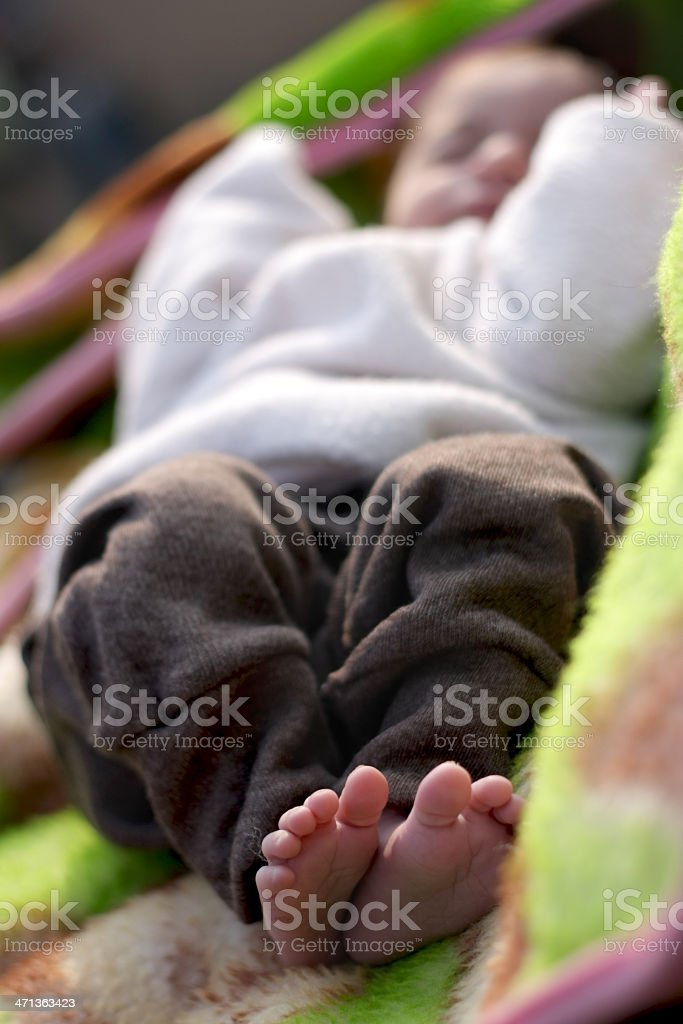 New Born Baby Sleeping Peacefully on Blanket. royalty-free stock photo