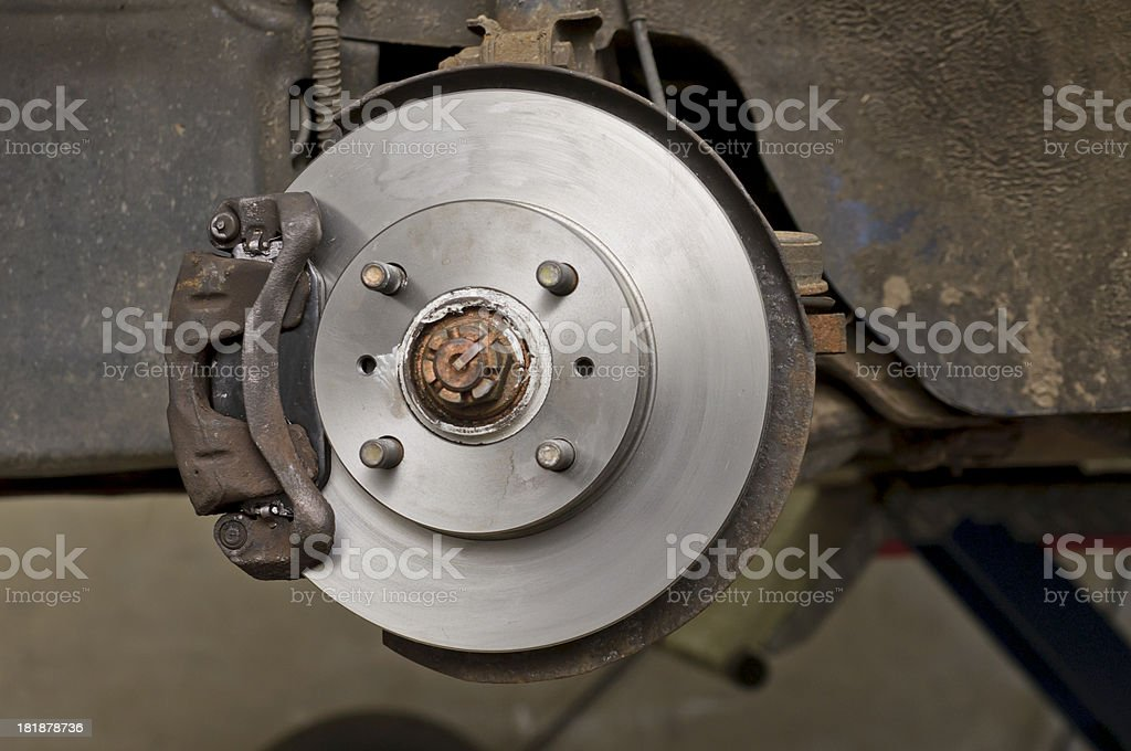 New brake discs on an old car stock photo