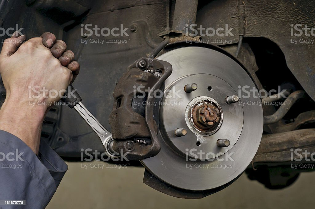 New brake disks and pads stock photo