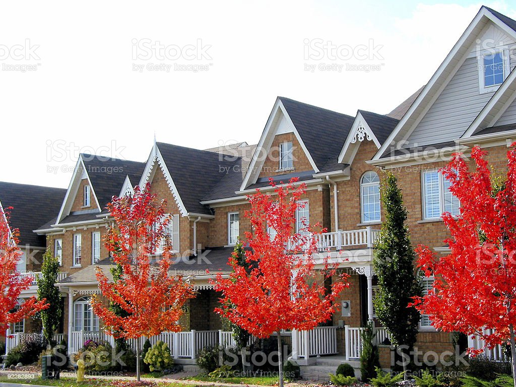New brick townhouses with trees with red foliage stock photo