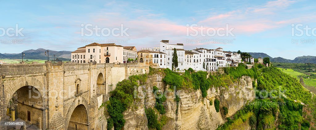 New bridge and the white houses Ronda stock photo
