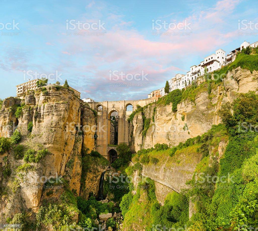 New bridge and the white houses, Ronda stock photo