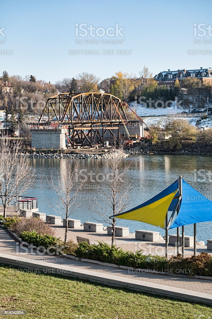 New Bridge Construction in Downtown Saskatoon stock photo