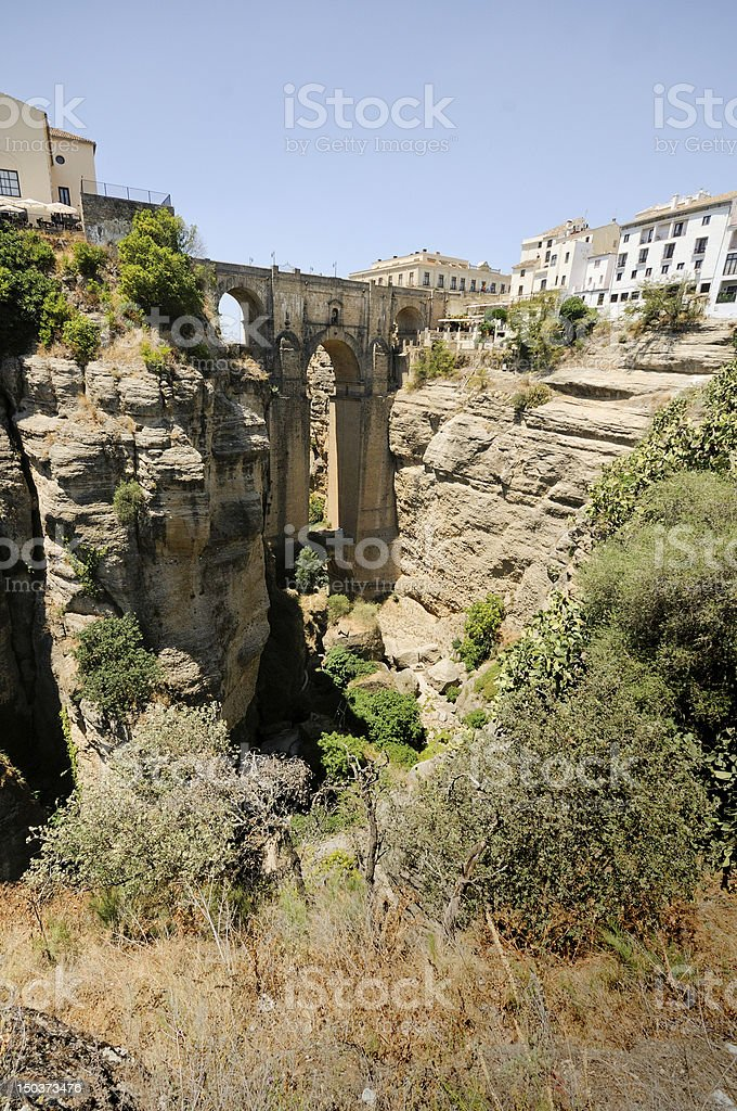 New bridge, famous white village in Ronda, M?laga, Andalusia, Spain stock photo