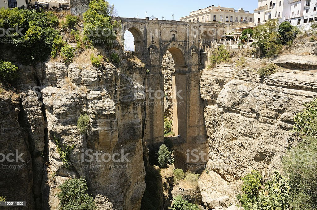 New bridge, famous white village in Ronda, Málaga, Andalusia, Spain stock photo