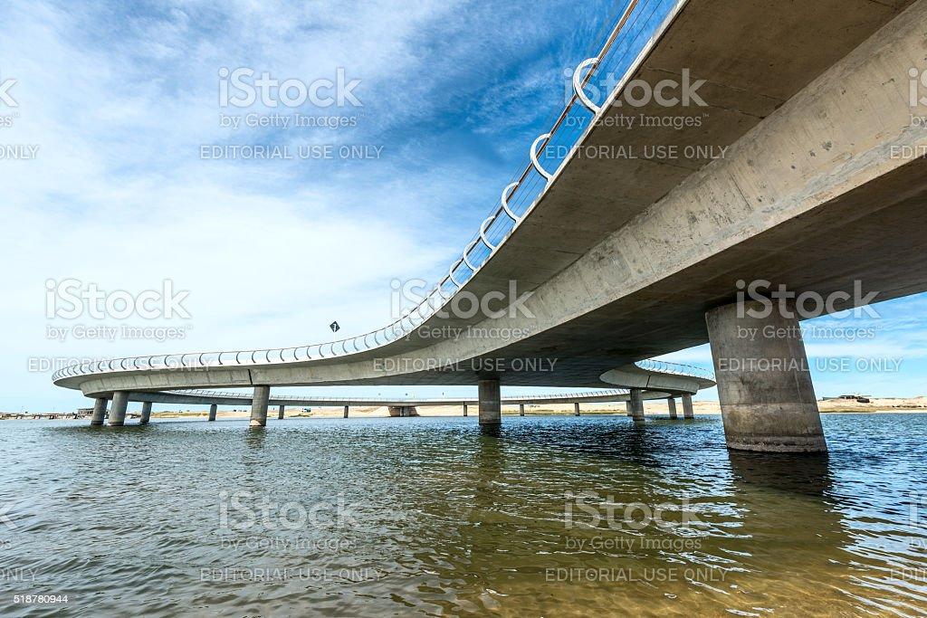New bridge on a Uruguayan lagoon Garzon, Jose Ignacio, Uruguay stock photo