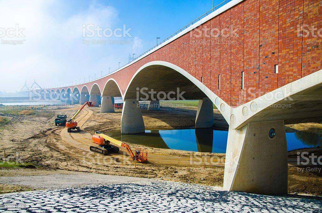 New Bridge over river Waal in Nijmegen stock photo