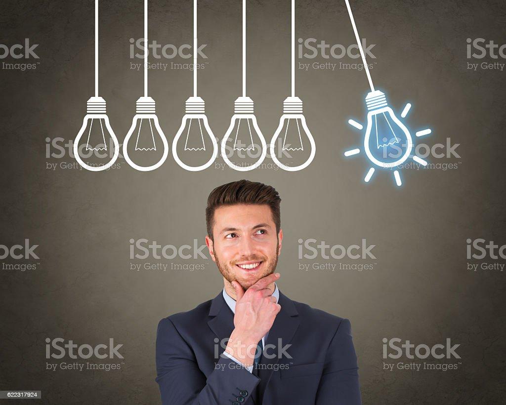 New Bright Idea over Human Head stock photo