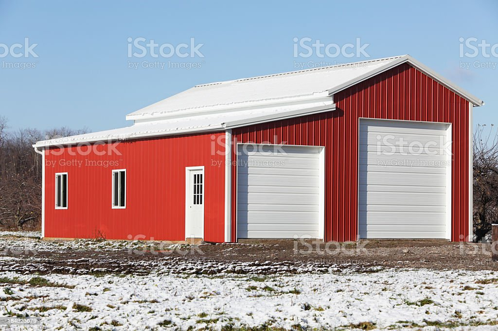New Bright Red Storage Building stock photo