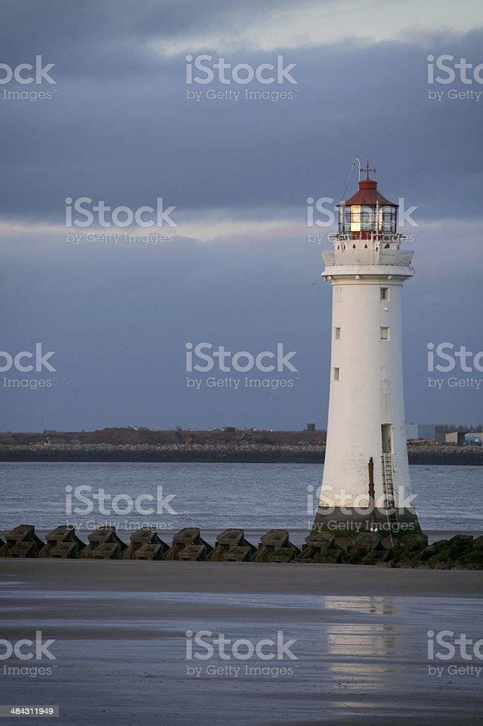 New Brighton Lighthouse at dusk stock photo