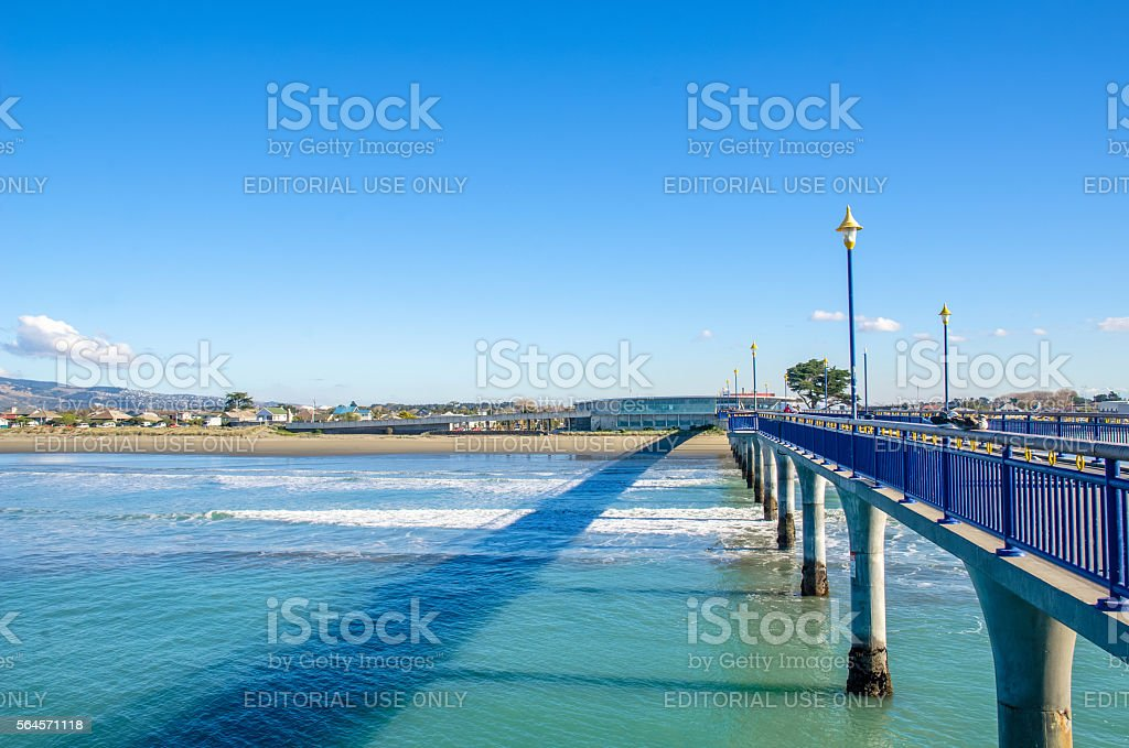 New Brighton Pier in Christchurch, New Zealand stock photo
