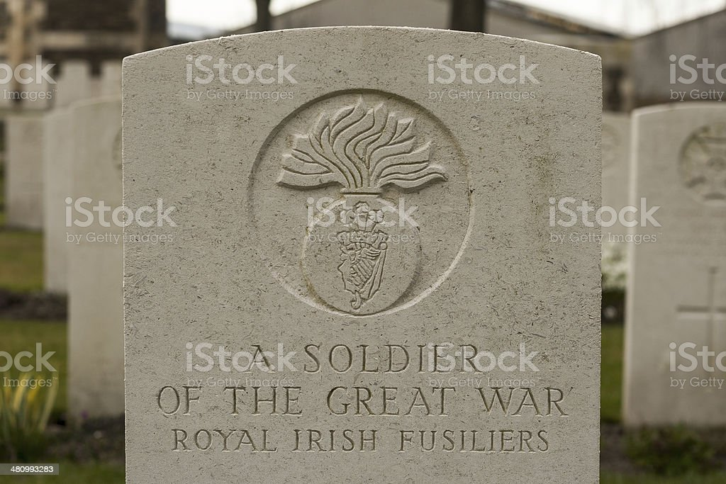 New British Cemetery Irish soldier flanders fields great war stock photo