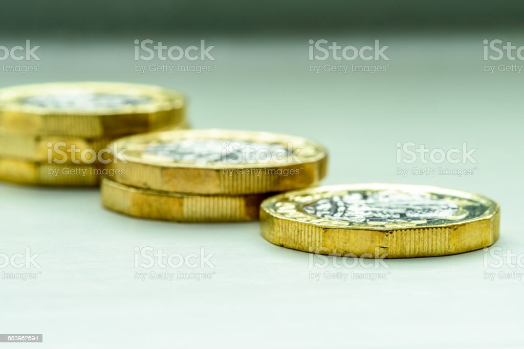 New British One Pound Sterling Coin Chart Rate stock photo