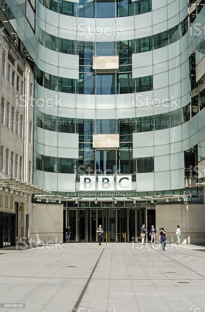 BBC New Broadcasting House entrance, London stock photo
