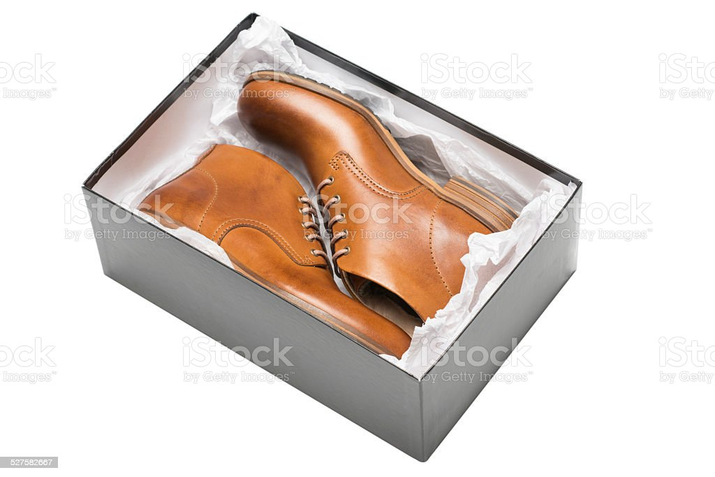 new brown shoes in box stock photo