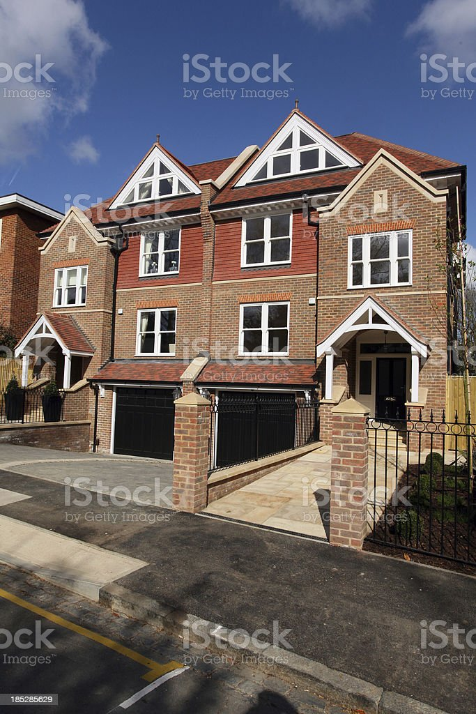 New build prestige town houses London England stock photo