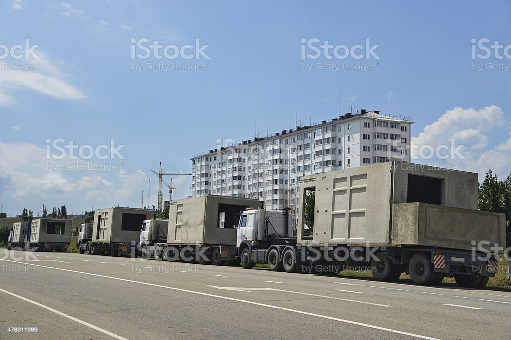 New building and trucks royalty-free stock photo