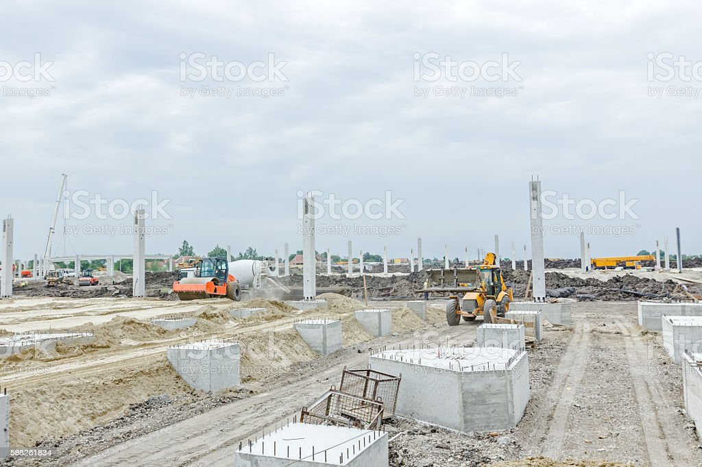 New building foundation construction stock photo