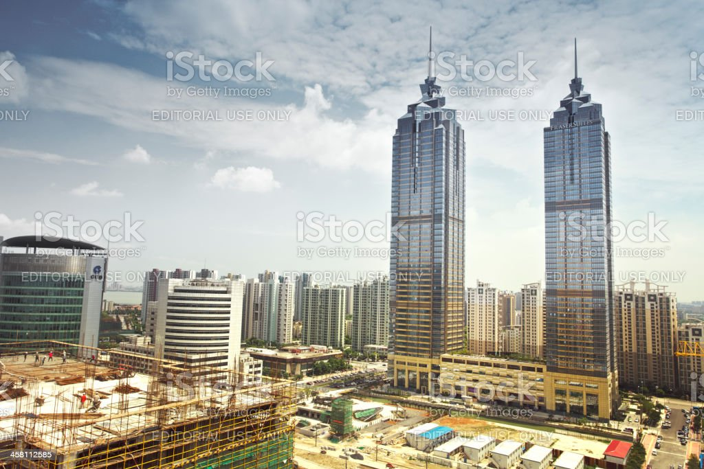 New business buildings and the building site stock photo