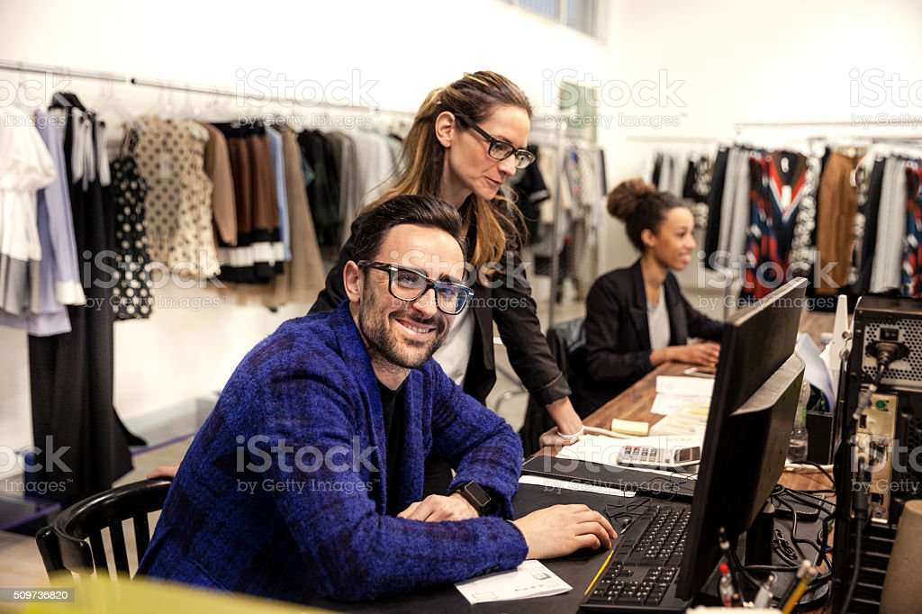 New Business clothing store, team at work in the office stock photo