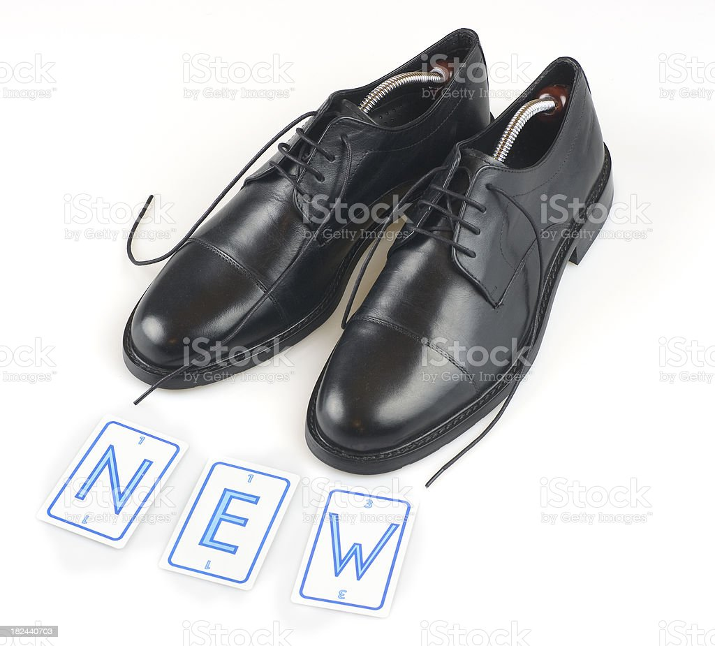 new business shoes with the word royalty-free stock photo