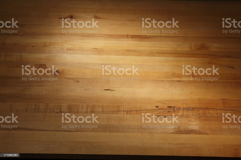 New Butcher block wood table top. royalty-free stock photo
