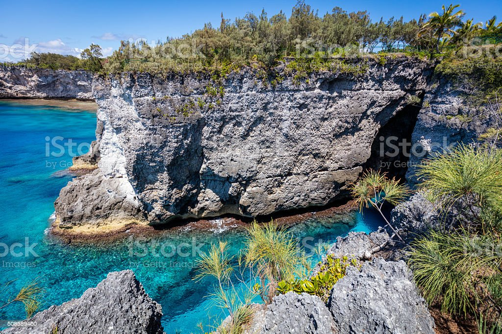 New Caledonia Mare Island Coast Turquoise Waters Loyalty Islands stock photo