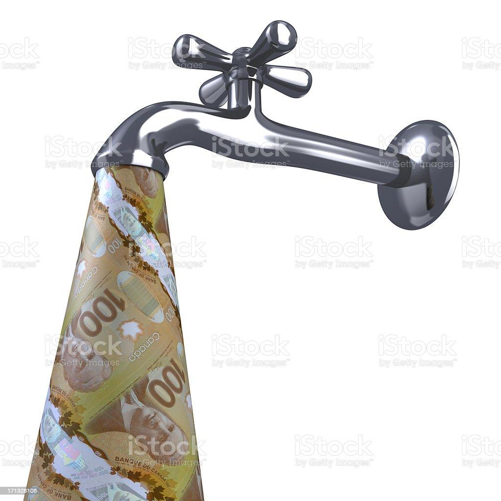 New Canadian Dollars and faucet. stock photo