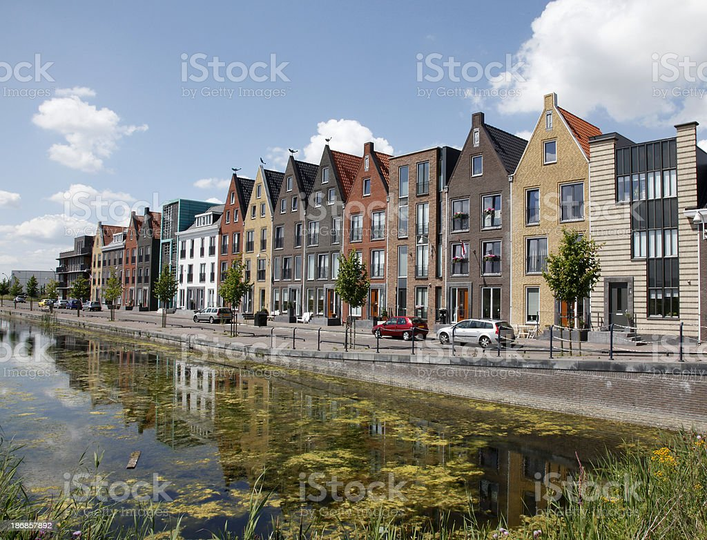 New canal houses stock photo