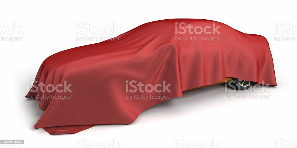 New car covered fabric stock photo