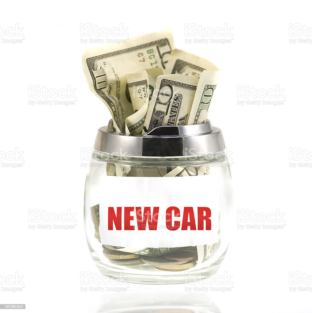 new car Dollar Savings in glass royalty-free stock photo