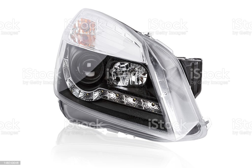 new car headlights stock photo