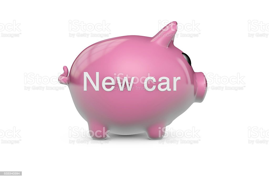 New car piggy bank stock photo
