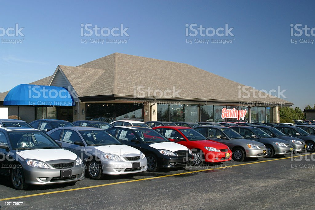 New Car Sales Lot and Showroom royalty-free stock photo