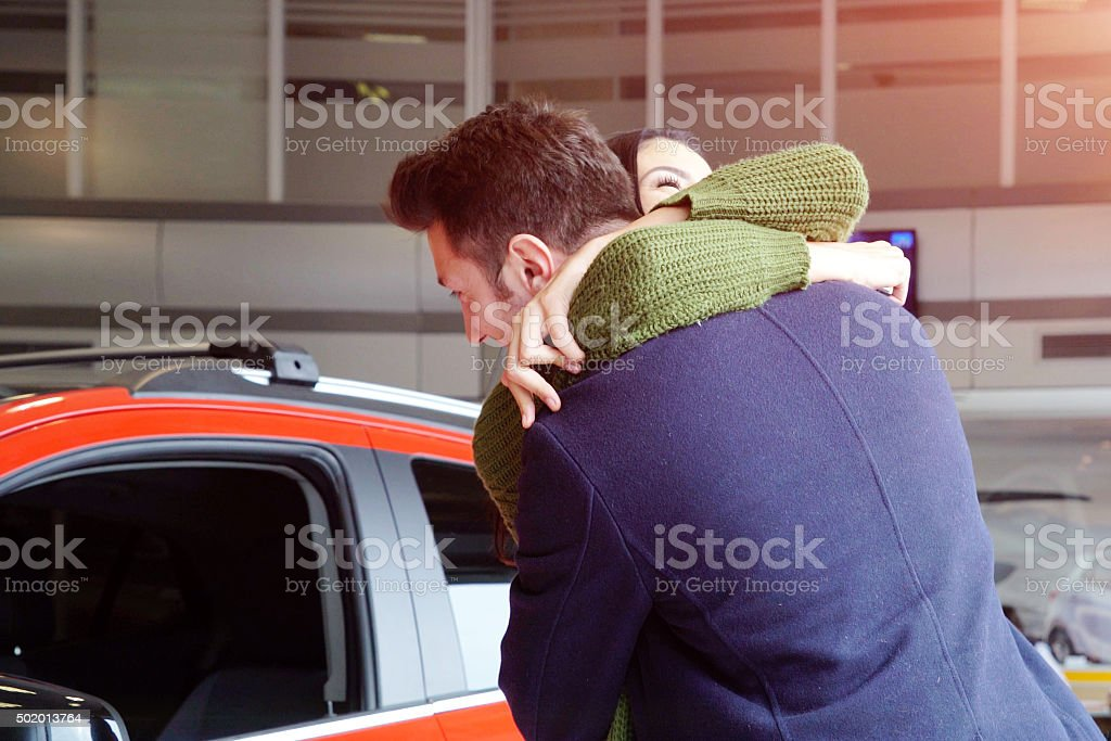 New car surprise in Valentine's day stock photo