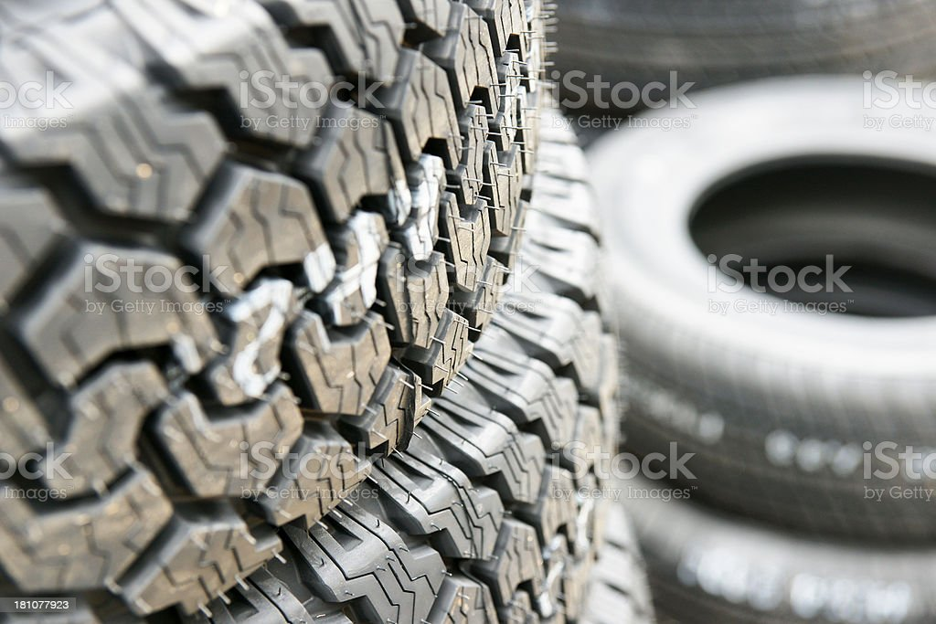 New car tires in a repair garage royalty-free stock photo