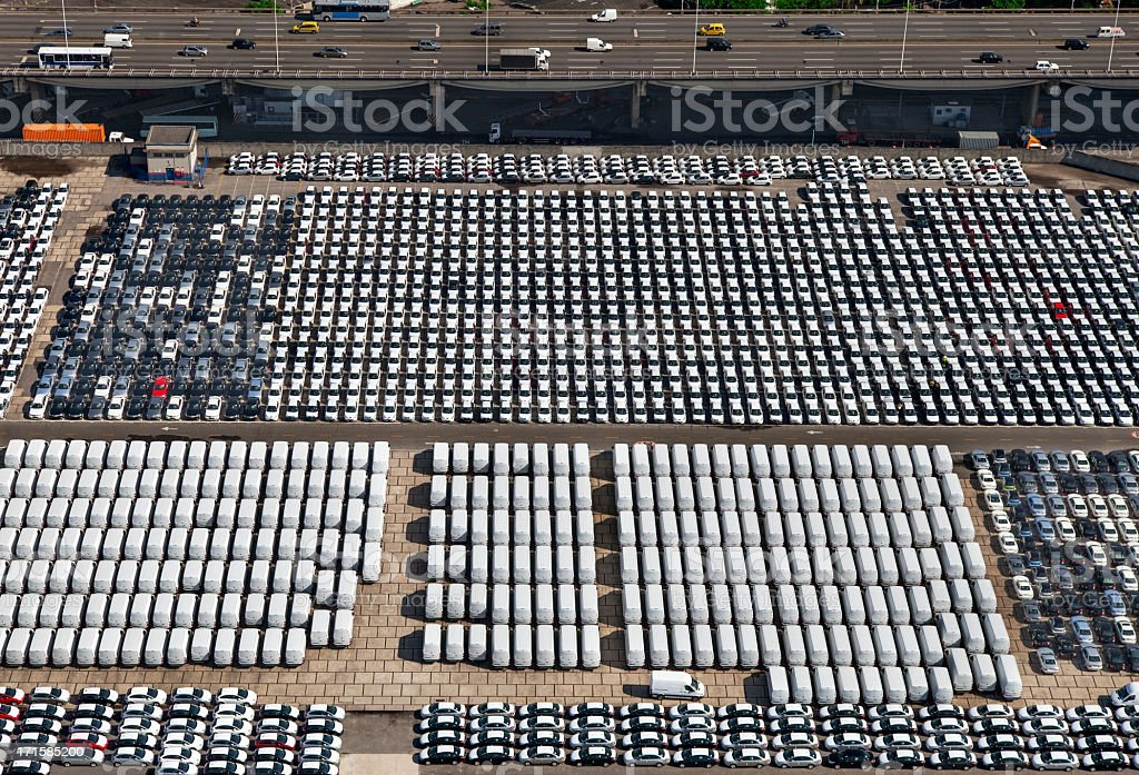 New cars and vans parked in Rio Port stock photo
