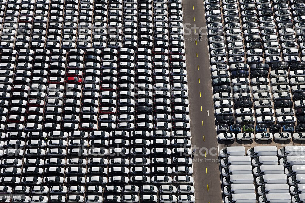 New cars and vans parked royalty-free stock photo