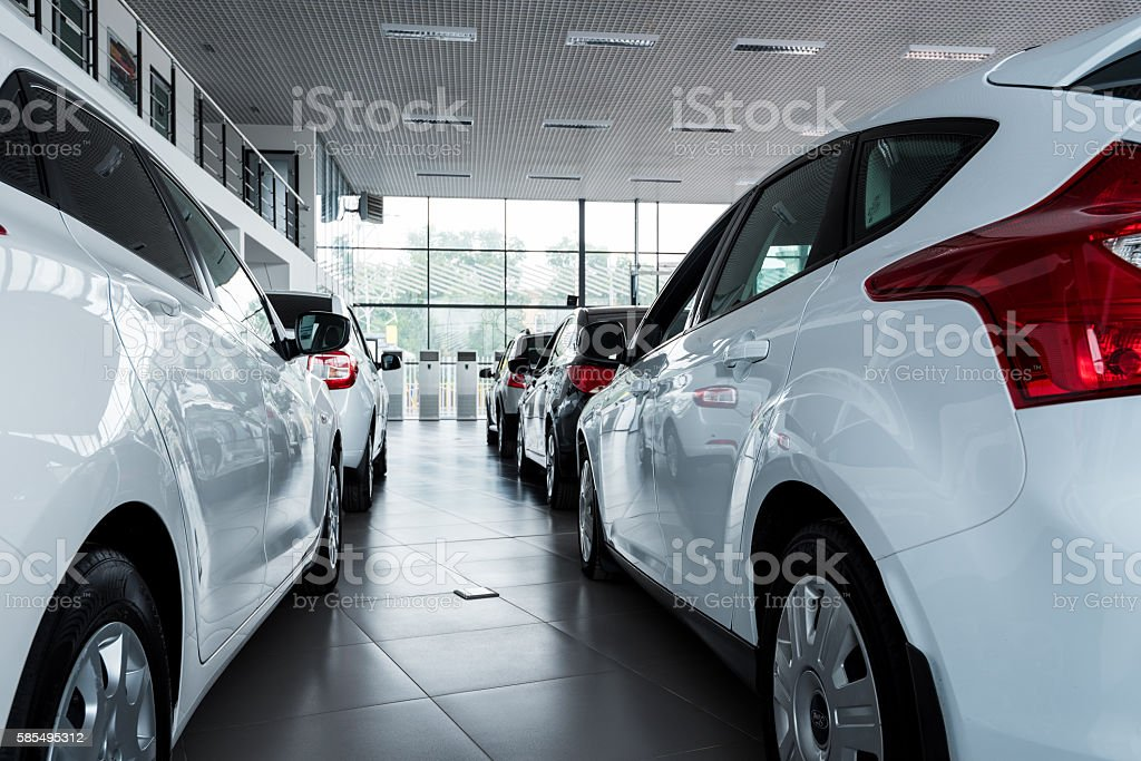 New cars at dealer showroom stock photo