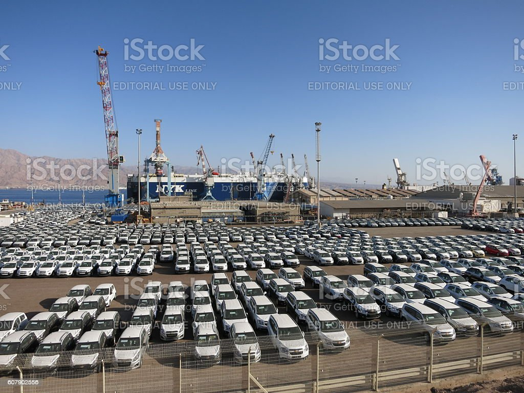 New cars export freight cargo port stock photo