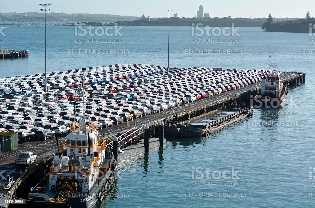 New Cars in Ports of Auckland New Zealand stock photo
