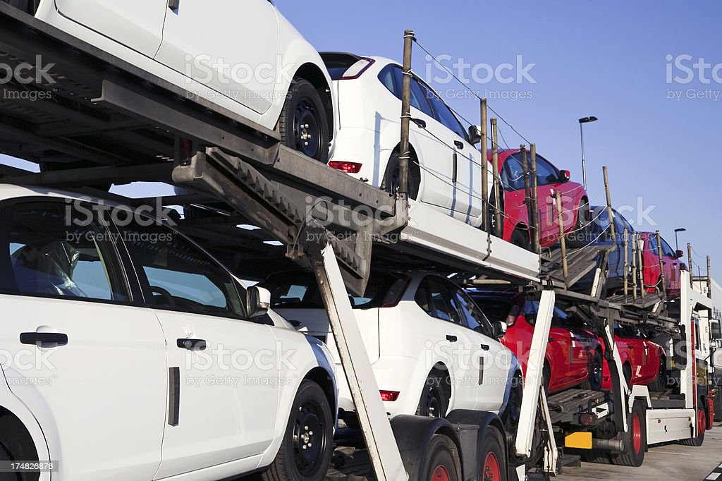 New cars transportation stock photo