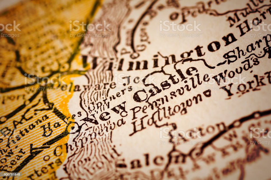 New Castle, Delaware on an Antique map stock photo