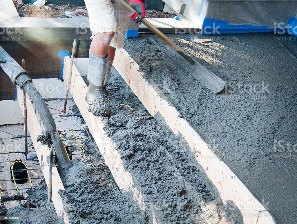 New cement steps being poured with heat cable stock photo