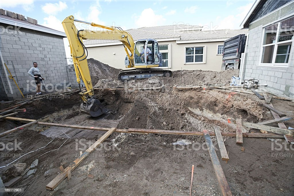new cement swimming pool construction series stock photo