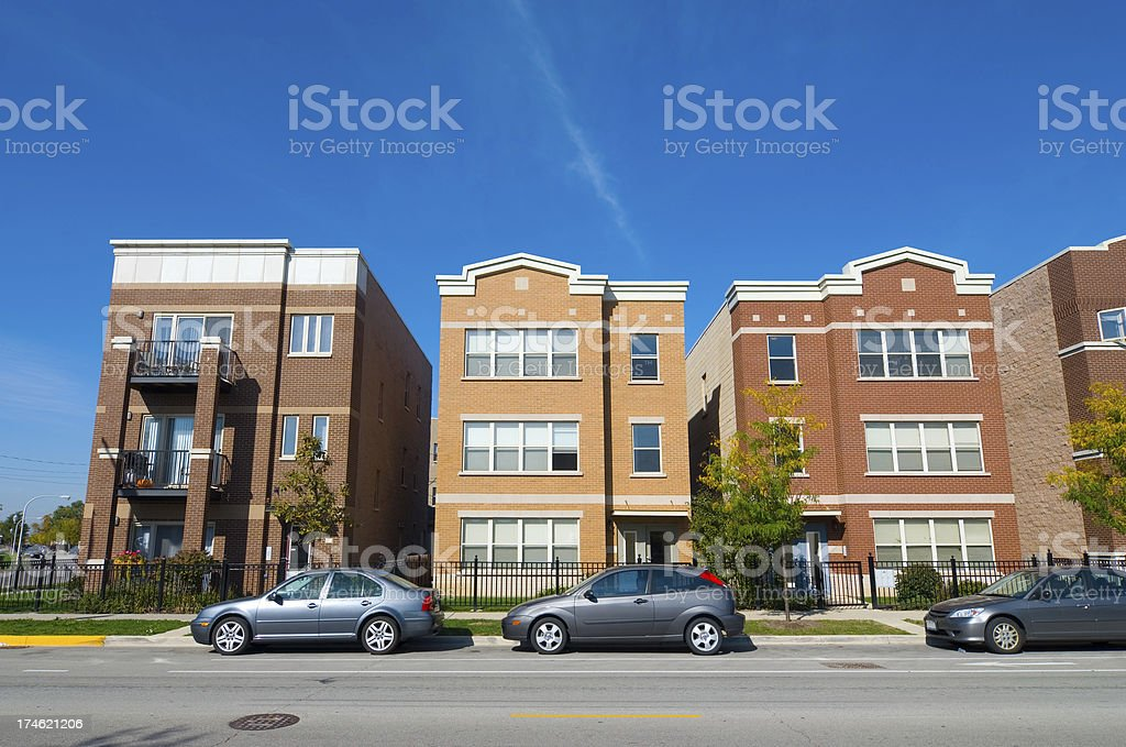 New Chicago Row Houses royalty-free stock photo