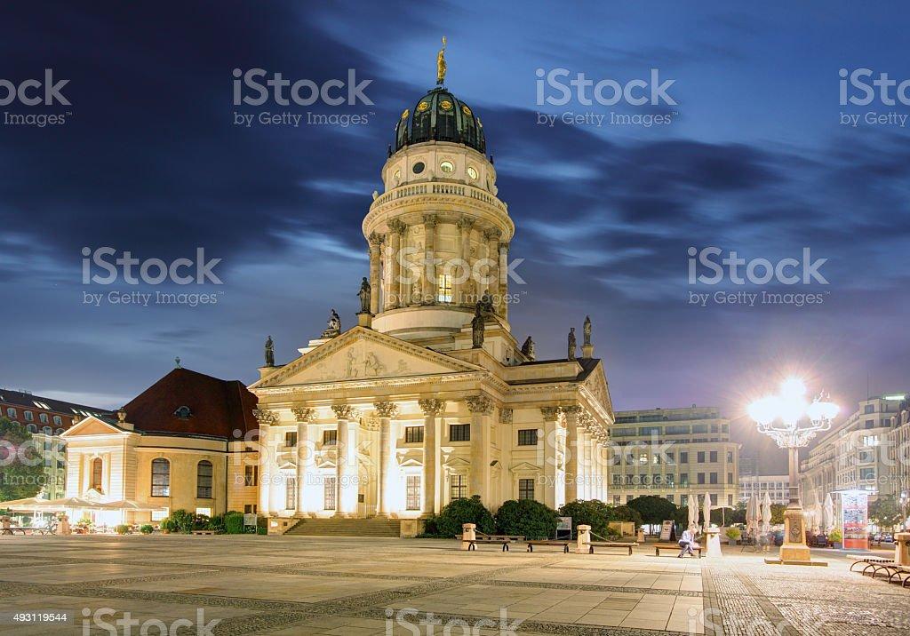 New Church (Deutscher Dom or German Cathedral) on Gendarmenmarkt. stock photo