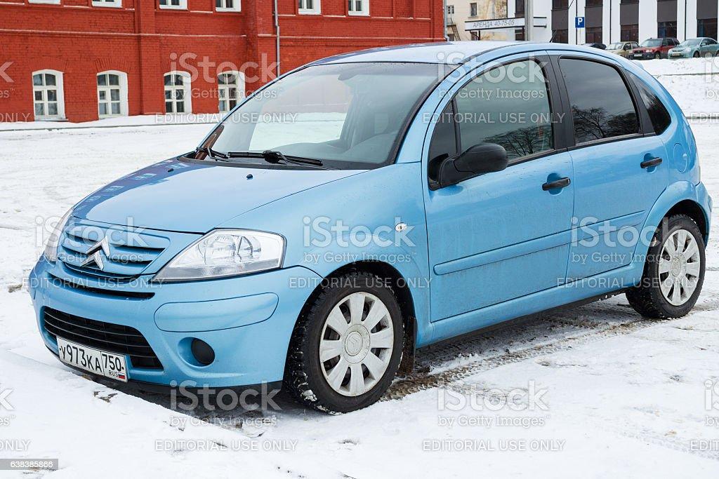 New Citroen C3 parked in winter street. stock photo