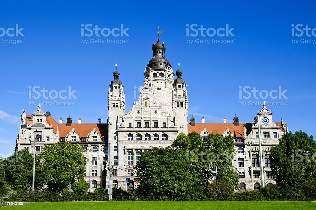 New city hall in Leipzig stock photo